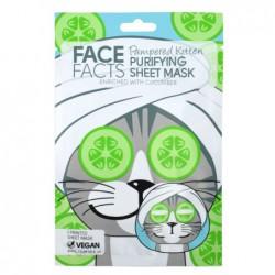 Vienkartinė veido kaukė FACE FACTS Pampered Kitten Purifying Sheet Mask FF92103, valanti odą, praturtinta agurkais, 20 ml