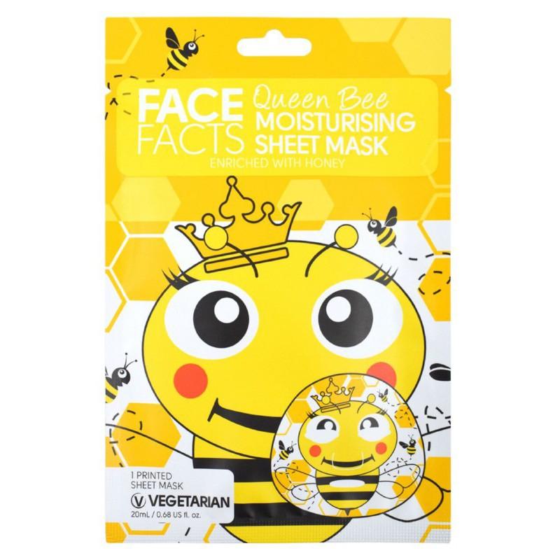 Vienkartinė veido kaukė FACE FACTS Queen Bee Moisturizing Sheet Mask FF92106, drėkinanti odą, praturtinta medumi, 20 ml